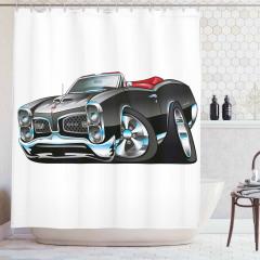 Çizgi Roman Tarzı Duş Perdesi Siyah Araba Desenli