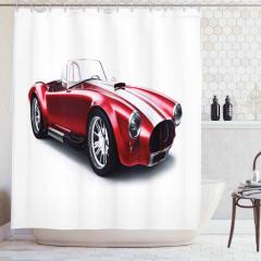 Nostaljik Duş Perdesi Kırmızı Klasik Araba Beyaz