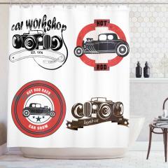 Nostaljik Duş Perdesi Klasik Araba Logoları Retro