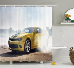 Drift Atan Sarı Yarış Arabası Temalı Duş Perdesi