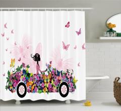 Çiçekli Araba Temalı Duş Perdesi Kelebekler Bahar