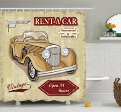 Nostaljik Duş Perdesi Klasik Araba Posteri Etkili