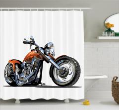 Motosiklet Desenli Duş Perdesi Hız Severlere Özel