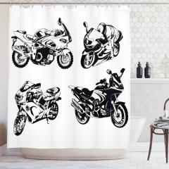 Motosiklet Severler İçin Duş Perdesi Siyah Beyaz