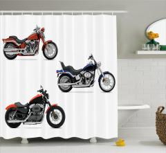Hız Tutkunlarına Özel Duş Perdesi Motosiklet Beyaz