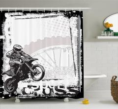 Motosiklet Severlere Özel Duş Perdesi Siyah Beyaz