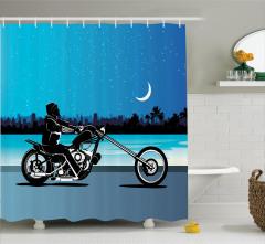 Motosiklet Desenli Duş Perdesi Mavi Siyah Yıldız Ay