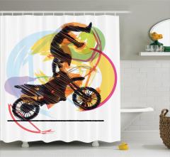 Motosiklet Sevenlere Özel Duş Perdesi Akrobat Sarı