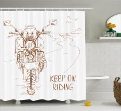 Motosiklet Yolculuğu Temalı Duş Perdesi Beyaz Yol