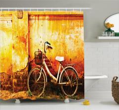 Bisiklet Desenli Duş Perdesi Nostaljik Sarı Beyaz