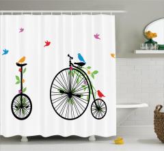 Siyah Bisiklet Desenli Duş Perdesi Nostaljik Kuş
