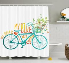 Bisiklet ve Çiçek Desenli Duş Perdesi Mavi Yeşil