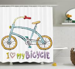 Bisiklet Desenli Duş Perdesi Mavi Sarı Mor Trend