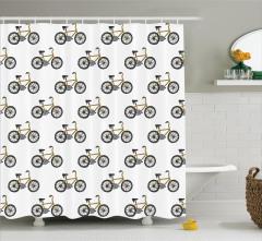 Bisiklet Desenli Duş Perdesi Siyah Sarı Şık Tasarım