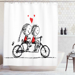 Bisikletli Aşıklar Temalı Duş Perdesi Siyah Kırmızı