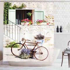 Çiçek ve Bisiklet Desenli Duş Perdesi Krem Pembe