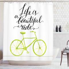 Yeşil Bisiklet Desenli Duş Perdesi Hayat Yolculuk