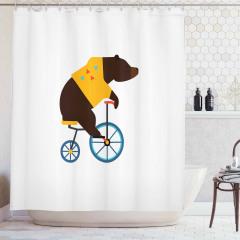 Bisikletli Ayı Desenli Duş Perdesi Kahverengi Mavi