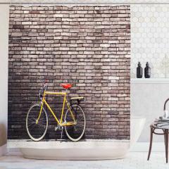 Retro Bisiklet Desenli Duş Perdesi Kahverengi Sarı