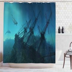 Batık Gemi Desenli Duş Perdesi Mavi Deniz Yunus