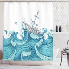 Dalgalar ve Gemi Desenli Duş Perdesi Mavi Deniz Şık