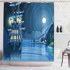 Korsan Gemisi Desenli Duş Perdesi Mavi Ay Deniz Gece