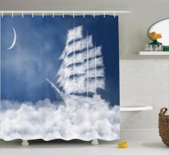 Bulut Yelkenli Temalı Duş Perdesi Beyaz Mavi Deniz