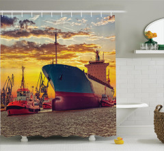 Limanda Gün Batımı Temalı Duş Perdesi Gemi Sarı