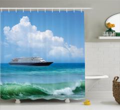 Deniz ve Gemi Desenli Duş Perdesi Turkuaz Dalga Plaj