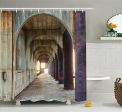 Antik Temalı Duş Perdesi Kahverengi Sütun Koridor