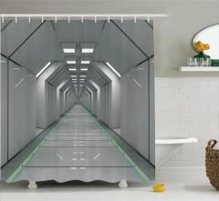 Uzay Temalı Duş Perdesi Bilim Kurgu Beyaz Koridor