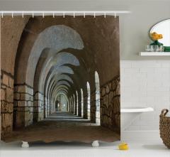 Kale Desenli Duş Perdesi Antik Temalı Kahverengi