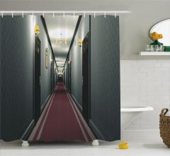 Otel Koridoru Temalı Duş Perdesi Gri Bordo 3D Bina