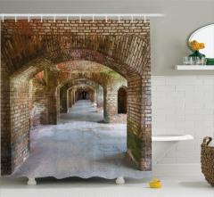 Antik Temalı Duş Perdesi Tarihi Manastır Kahverengi