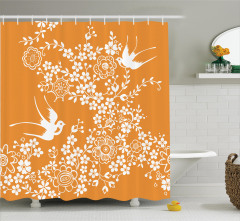 Çiçek Desenli Duş Perdesi Turuncu Beyaz Kuş Çeyizlik
