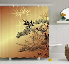 Bambu Desenli Duş Perdesi Ağaç Yaprak Kahverengi Şık