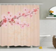 Kiraz Çiçekleri Desenli Duş Perdesi Pembe Çeyizlik
