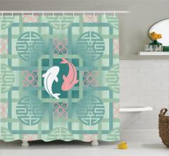 Balık Desenli Duş Perdesi Çiçek Pembe Yeşil Şık