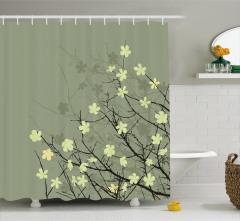 Retro Çiçek Desenli Duş Perdesi Bej Sarı Siyah