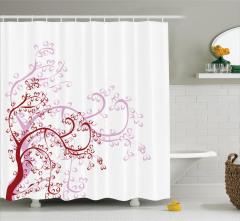 Çiçek Desenli Duş Perdesi Pembe Bordo Beyaz Çeyizlik