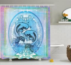 Mavi Balık Desenli Duş Perdesi Koi Mor Japon Şık