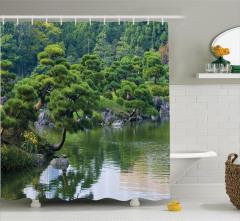 Nehir Manzaralı Duş Perdesi Doğada Huzur Temalı