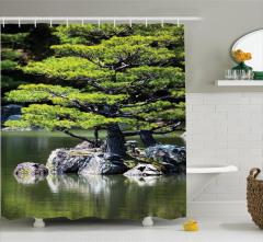 Göl Manzaralı Duş Perdesi Doğada Yaz Mevsimi Temalı