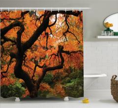 Sonbahar Temalı Duş Perdesi Romantik Turuncu Yaprak