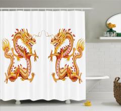 İkiz Ejderha Desenli Duş Perdesi Uzak Doğu Sarı