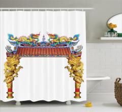 Antik Ejderha Desenli Duş Perdesi Oryantal Sanatı