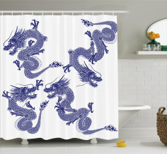 Japon Ejderha Desenli Duş Perdesi Uzak Doğu Sanatı
