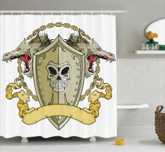 Ejderha Desenli Duş Perdesi Orta Çağ Savaşı Şövalye