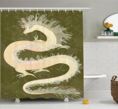 Ejderha Desenli Duş Perdesi Çin Kültürü Yeşil