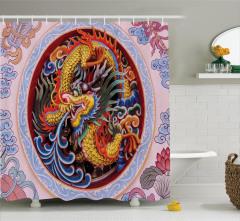 Ejderha Portreli Duş Perdesi Uzak Doğu Sanatı